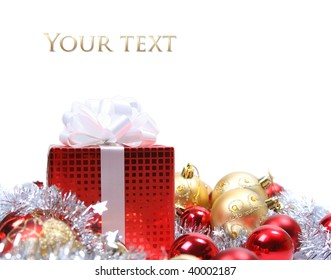 background with red christmas present