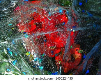 Background of red colors through transparent film with bubbles and cobwebs. Stage photography in the garden