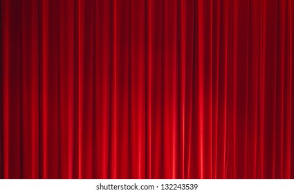 Background of a Red Curtain on a Stage