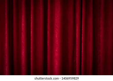 background of red curtains, fabric, pleats
