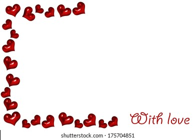 a background with red hearts