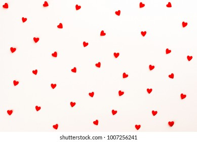 Background with red hearts. Pattern.