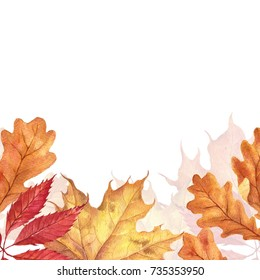 Background with red, orange, brown and yellow falling autumn leaves.