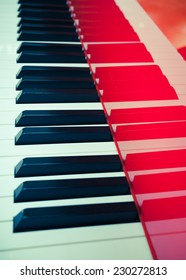 background of red piano, made in Germany