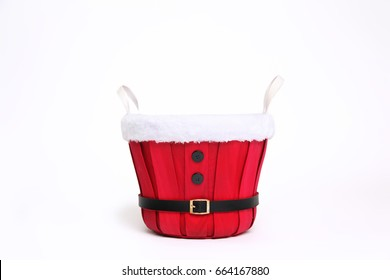 Background Of Red Santa Bucket Prop Isolated On White