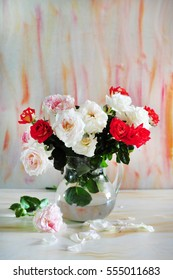 background with red and white roses