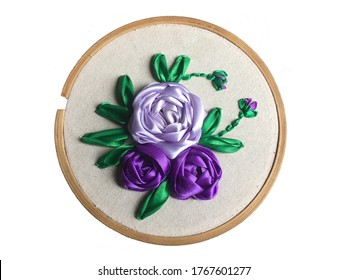 Background removed purple hand embroidery Rose flowers with green leaf and flower buds ( ribbon art, ribbon flower, ribbon stitch, embroidery design ) - Home made ribbon embroidery, local handwork