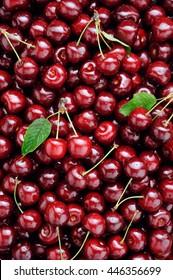 Background of ripe organic cherries