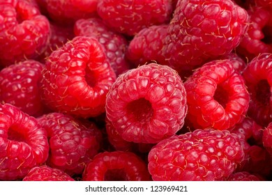 Background of ripe red raspberries, close up