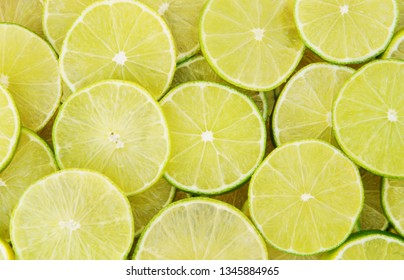 Background of ripe sliced limes