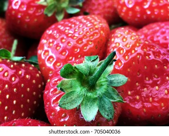 Background or ripe strawberries