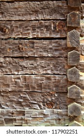 Background of Rough Hewn Wood on an old Cabin