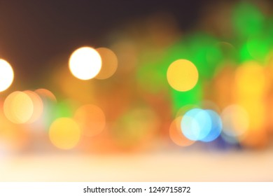 background of Round multicolored light of city in night