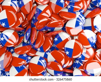 Background with round pins with flag of chile