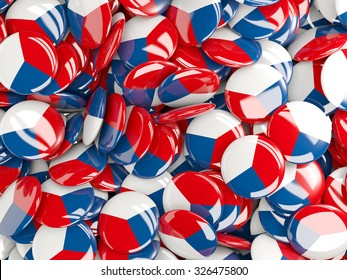 Background with round pins with flag of czech republic