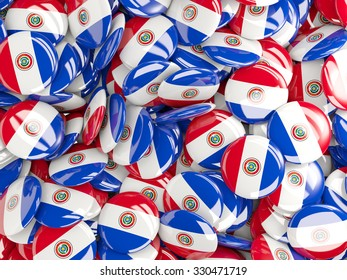 Background with round pins with flag of paraguay