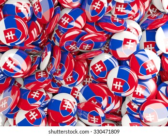 Background with round pins with flag of slovakia