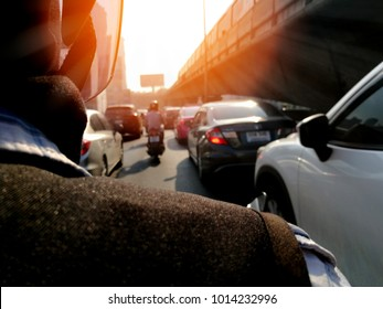Background, routine of urban business city with traffic jam. Transportation during busy peak hour in the morning before work and evening after work