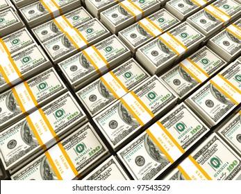 Background of rows of US dollars bundles