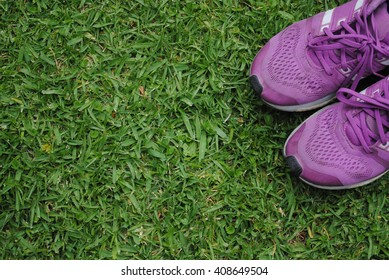 Background of running shoes on the natural green grass. Purple female race shoes