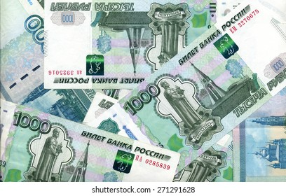 background - Russian 1000 rubles banknotes
