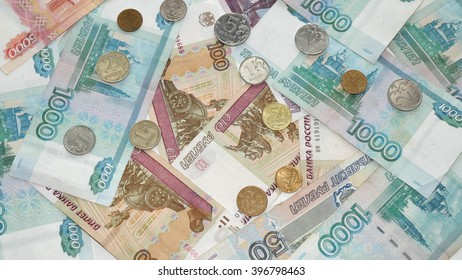 The background from scattered one-thousandths of banknotes and coins