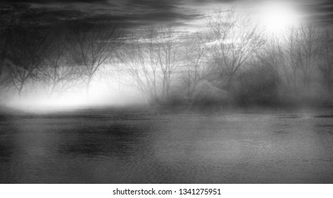 Background scene of empty street. Night view of the river, night sky with clouds, silhouettes of trees, light reflected on water. Smoke fog