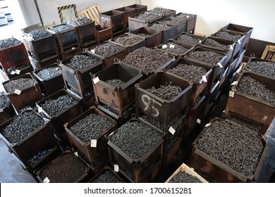 Background of screw bolts, Internal screw, bolts closeup, many screws. Factory equipment and Industrial materials.