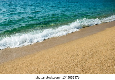 Background with sea waves and sandy beach
