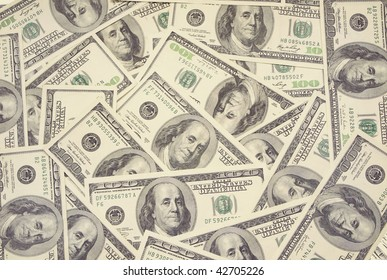 Background from set of dollar banknotes