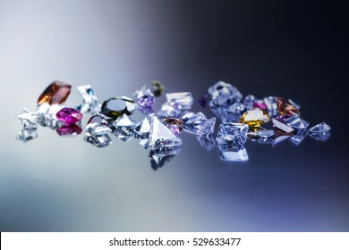 Background with set of many different gemstone. Fashion acessories