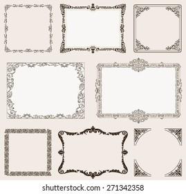 background set. Ornate frames and vintage scroll elements for design