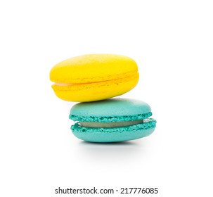 Background of several various macaron cakes. Close up.