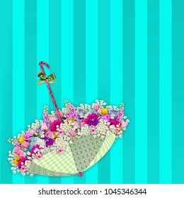Background with shades of turquoise stripes with unpside down umbrella filled with real flower images.  3-D