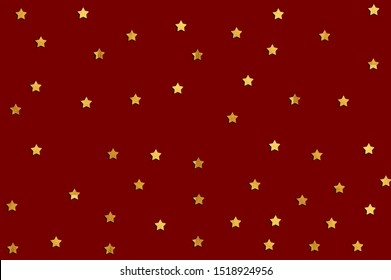 background with shiny gold stars. Shiny Star Falling Print. Dark Red Starry Background. Vector Confetti Star Pattern. Starlit Indigo Card. Modern Creative Backdrop. Christmas background.