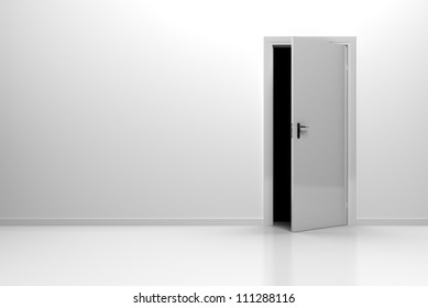 Background Shite Wall with floor and white door