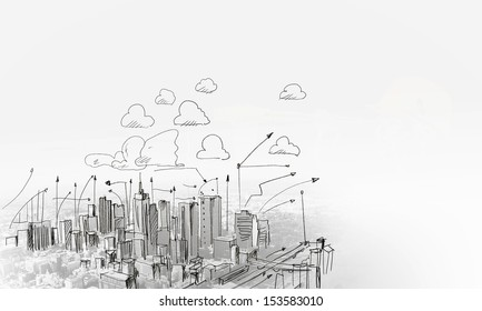 Architecture eco world environment day blueprint stock vector background sketch image with building plan and strategy malvernweather Choice Image