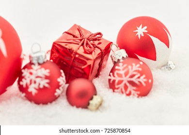 Background with small christmas gift as decoration