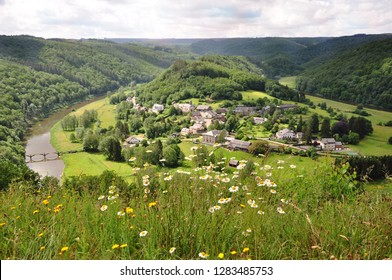 Background of the small village in Belgium name Rochefort, Ardennes with very beautiful view of landscape surrounded with Meuse river in summer season.