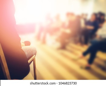 Background of smart handsome good looking men giving happy and fun professional business speech in conference. Use in workshop, training lecture, seminar event
