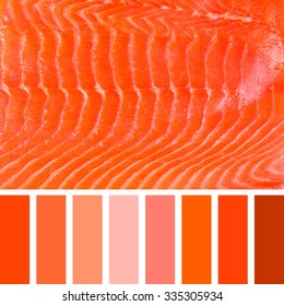 A background of smoked salmon, in a colour palette with complimentary colour swatches