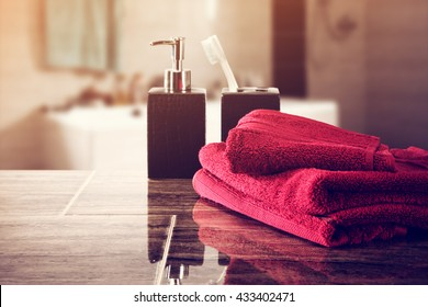background of soap and red towels and sunset time