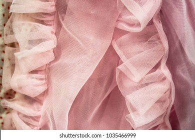 Background of soft pink net ruffled fabric