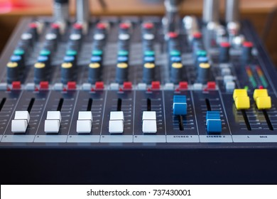 Background of sound mixer control panel