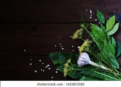 background of spices and herbs for canning cucumbers, pickles and pickling. place for text. copy space. dill flowers, bay leaf, horseradish leaf, spices.