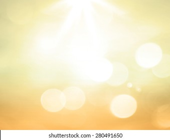 Background of spiritual concept: Colorful bokeh light and abstract bright sun rays