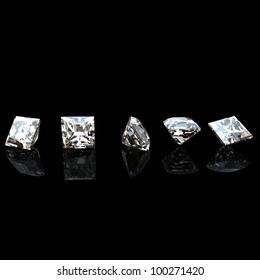 Background with square shape diamond on black. Jewelry gems