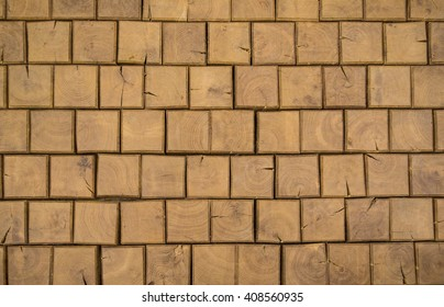 Background of square wooden bricks