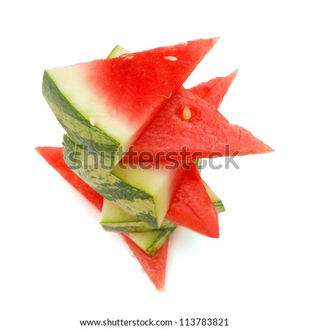 Background of a stack of watermelon slices