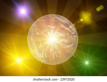 Background with stars and Planet